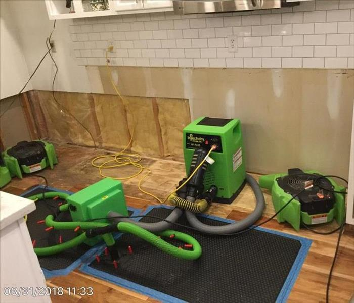 Water loss kitchen during mitigation