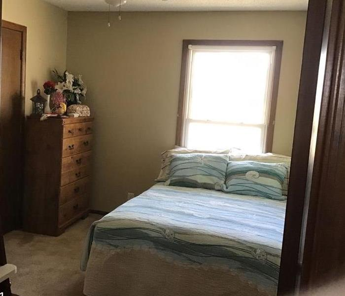 Guest Bedroom after soot damage was removed and cleaned